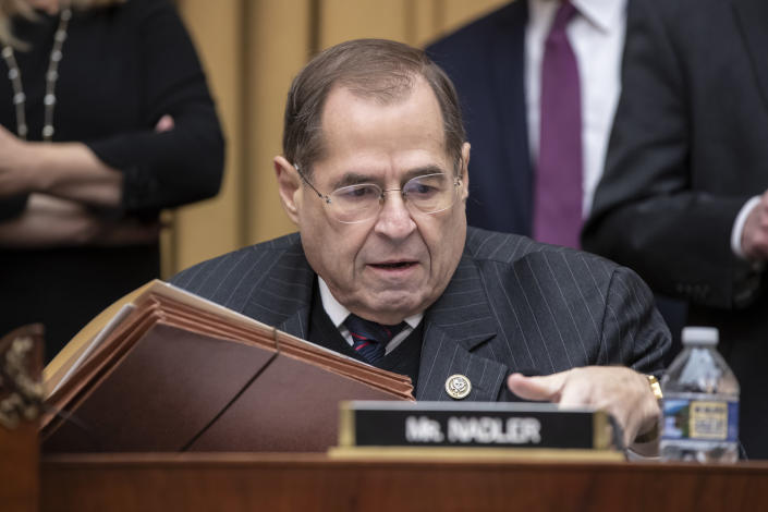 Rep. Jerrold Nadler, D-N.Y., the top Democrat on the House Judiciary Committee, arrives for the testimony of Google CEO Sundar Pichai about the internet giant's privacy security and data collection, on Capitol Hill in Washington, Tuesday, Dec. 11, 2018. Nadler is the incoming chairman of the Judiciary panel when the Domocrats take over the majority role in January. (AP Photo/J. Scott Applewhite)