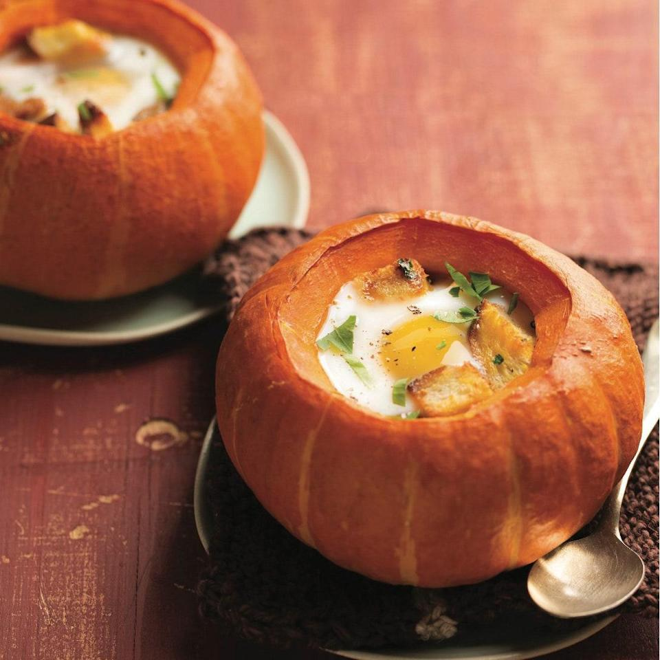 "The way the flavors of pumpkin, sausage, herbs, and eggs come together in this perfect little side dish (or holiday breakfast!) will make any autumnal diner very, very happy. <a href=""https://www.epicurious.com/recipes/food/views/baked-mini-pumpkin-pots-51200620?mbid=synd_yahoo_rss"" rel=""nofollow noopener"" target=""_blank"" data-ylk=""slk:See recipe."" class=""link rapid-noclick-resp"">See recipe.</a>"