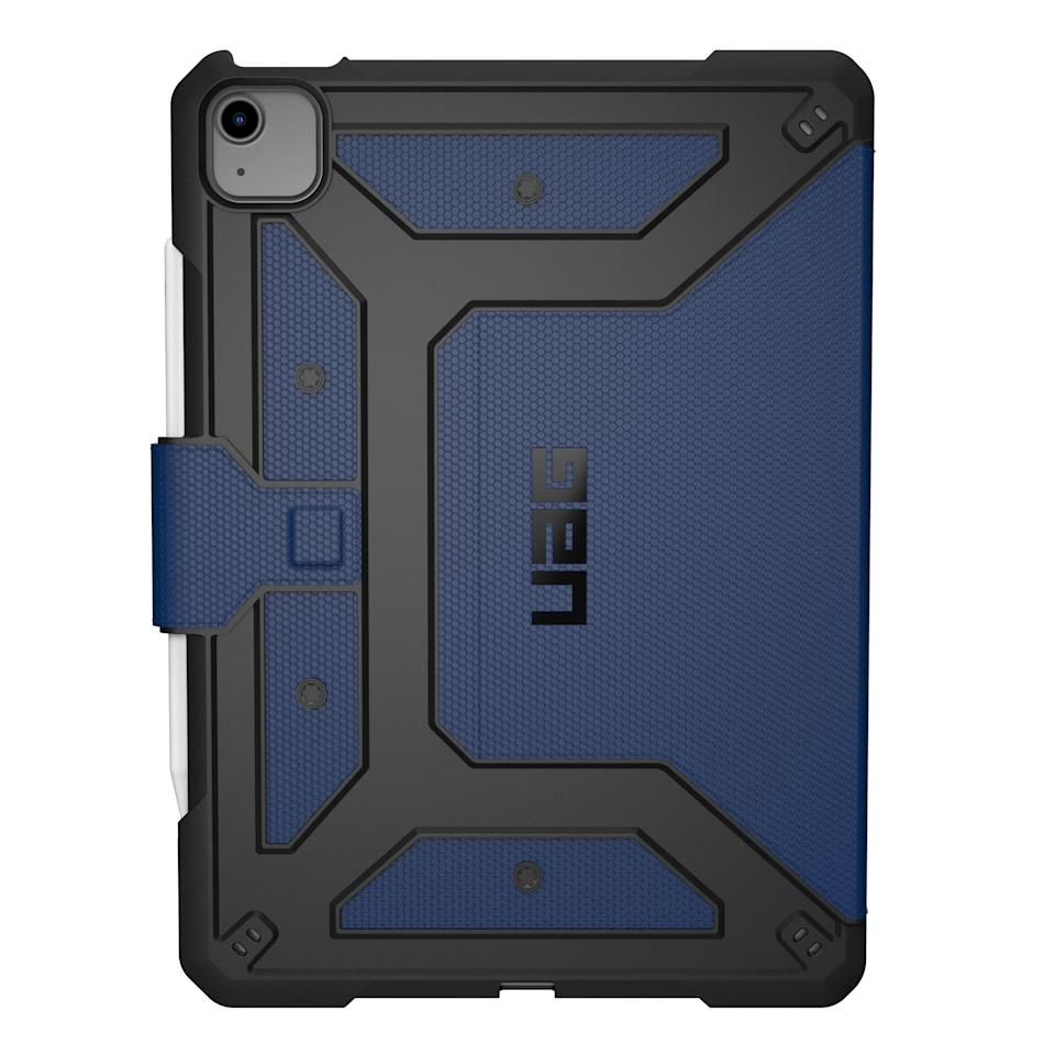 "<p><strong>UAG</strong></p><p>urbanarmorgear.com</p><p><strong>$59.95</strong></p><p><a href=""https://go.redirectingat.com?id=74968X1596630&url=https%3A%2F%2Fwww.urbanarmorgear.com%2Fproducts%2Fmetropolis-series-ipad-air-10-9-4th-gen-2020&sref=https%3A%2F%2Fwww.bestproducts.com%2Ftech%2Fgadgets%2Fnews%2Fg740%2Fbest-ipad-air-cases-covers%2F"" rel=""nofollow noopener"" target=""_blank"" data-ylk=""slk:Shop Now"" class=""link rapid-noclick-resp"">Shop Now</a></p><p>The UAG Metropolis Folio iPad Air case is a rugged offering that meets military drop-test standards. Its magnetic cover also doubles as a multiposition viewing stand, while precise cutouts ensure that you can easily access all the hardware features of your slate.</p><p>We like that the accessory has a built-in holder for the Apple Pencil. You can snag the UAG Metropolis in black, blue, or red.</p>"