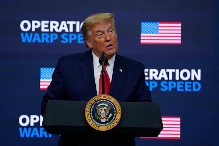 """President Donald Trump speaks during an """"Operation Warp Speed Vaccine Summit"""" on the White House complex, Tuesday, Dec. 8, 2020, in Washington."""