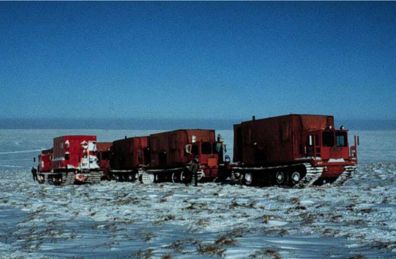Seismic vibrator units in the 1002 area in the winter of 1985. (US Fish and Wildlife Service)