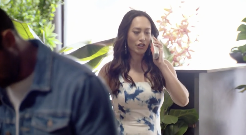 Melissa Leong answering the phone during MasterChef