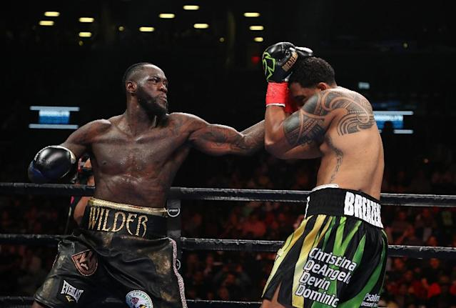 Deontay Wilder says he wants to fight Anthony Joshua after his brutal demolition of Dominic Breazeale (AFP Photo/AL BELLO)