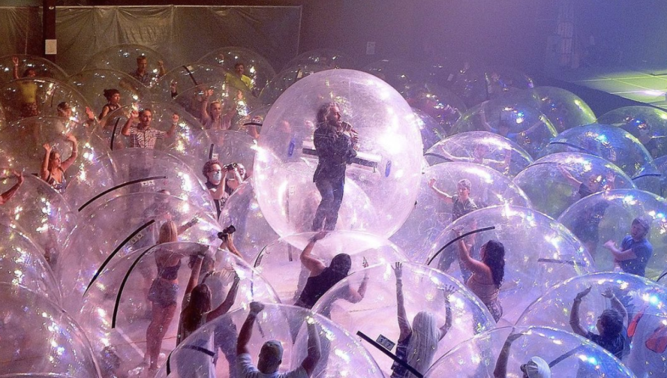 The Flaming Lips do a test-run Space Bubble concert in Oklahoma City. (Photo: Instagram)