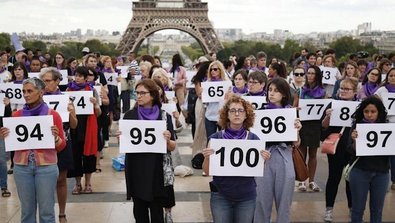 Women in France rally against domestic abuse after 116 die in acts of violence