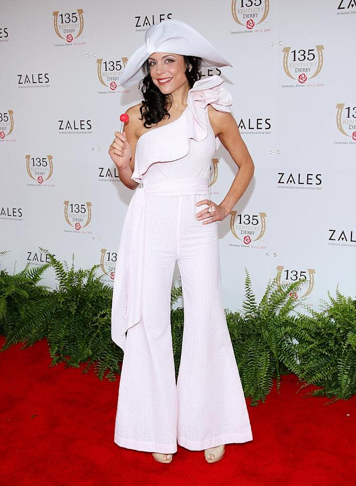"""Real Housewives of NYC"" star Bethenny Frankel caused a commotion in Louisville when she dared to don a pink-and-white asymmetrical jumpsuit and unsightly chapeau to the 135th Annual Kentucky Derby. Jason Kempin/<a href=""http://www.wireimage.com"" target=""new"">WireImage.com</a> - May 2, 2009"