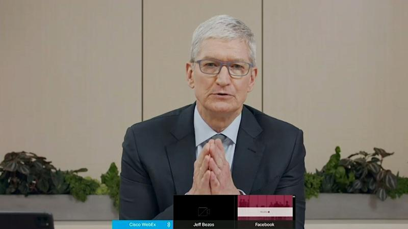 "Apple CEO Tim Cook testifies remotely via videoconference during a U.S. House Judiciary Subcommittee on Antitrust, Commercial and Administrative Law hearing on ""Online Platforms and Market Power"" in this screengrab made from video as the committee meets on Capitol Hill, in Washington, U.S., July 29, 2020. U.S. House Judiciary Committee via REUTERS"