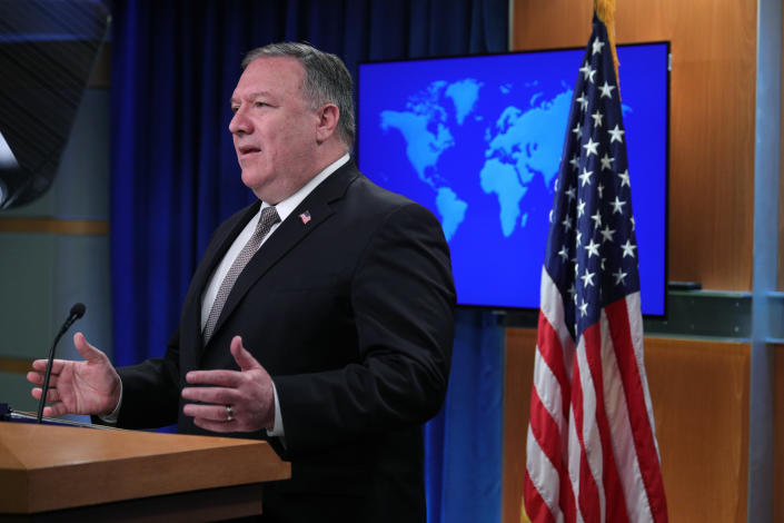 Secretary of State Mike Pompeo speaks during a news conference at the State Department in Washington, Wednesday, July 8, 2020. (Tom Brenner/Pool via AP)