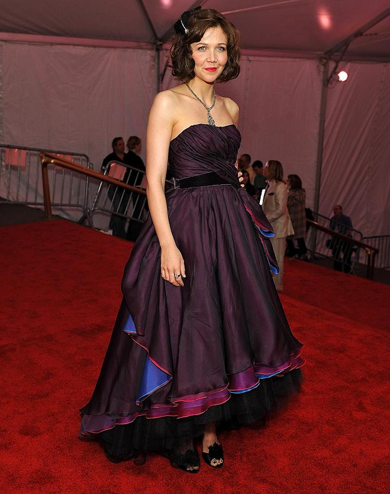"""Maggie Gyllenhaal looked lost among all the layers of her Peter Som dress. Dimitrios Kambouris/<a href=""""http://www.wireimage.com"""" target=""""new"""">WireImage.com</a> - May 5, 2008"""