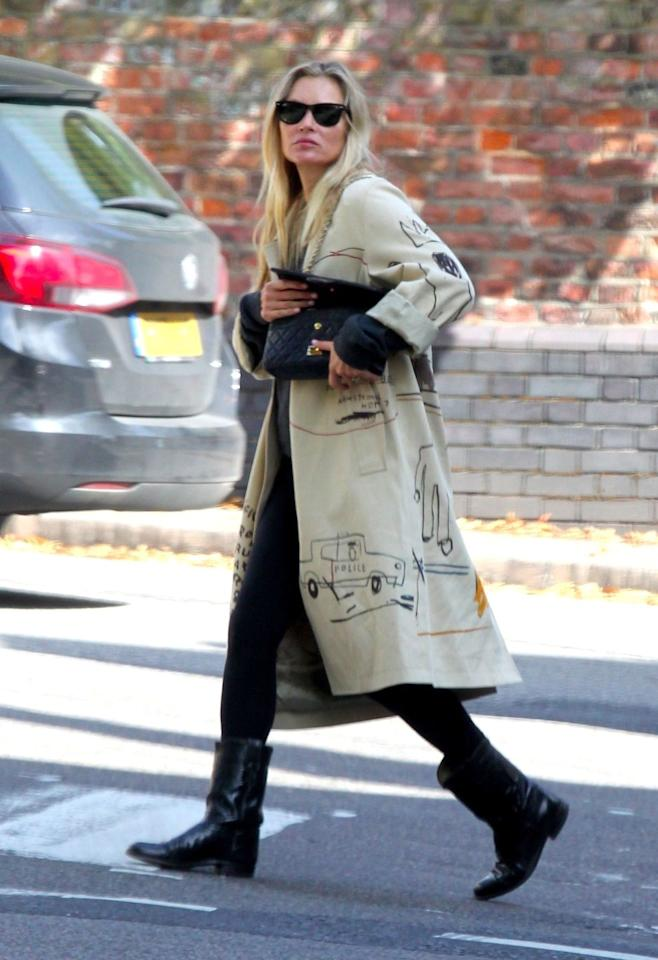 <p><strong>10 September </strong>Kate Moss was seen wearing Coach x Jean-Michel Basquiat trench coat out in London. <strong></strong></p>
