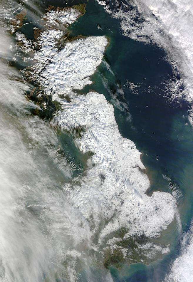 The natural-colour image captured by Terra shows a detailed view of the snows covering Britain on January 26.