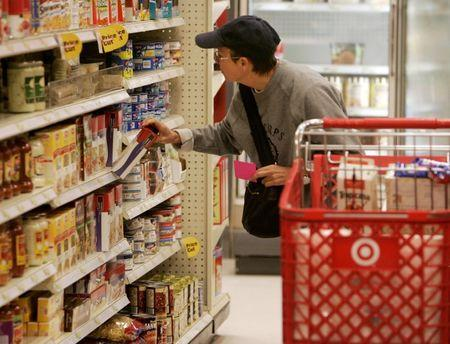A shopper looks at grocery items at a Target store in Los Angeles