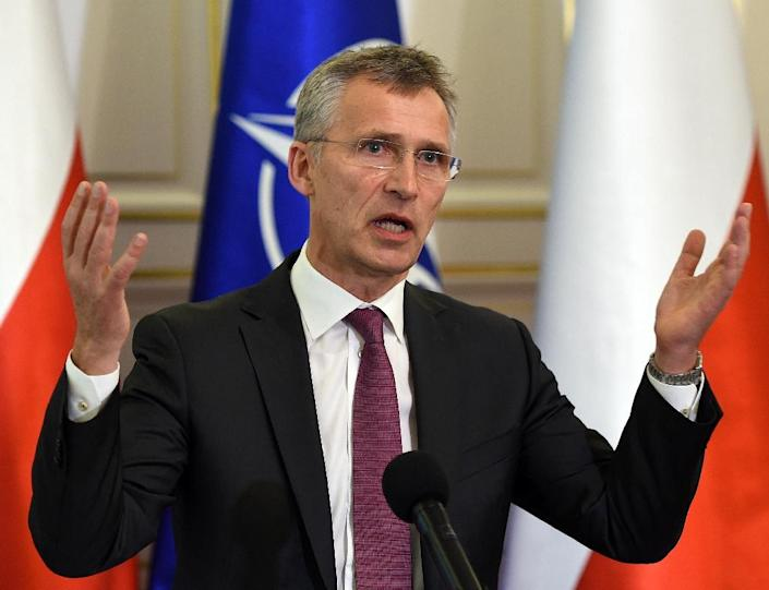 NATO Secretary General Jens Stoltenberg gestures during a meeting with Polish President Andrzej Duda on May 30, 2016 in Belweder palace in Warsaw (AFP Photo/Janek Skarzynski)