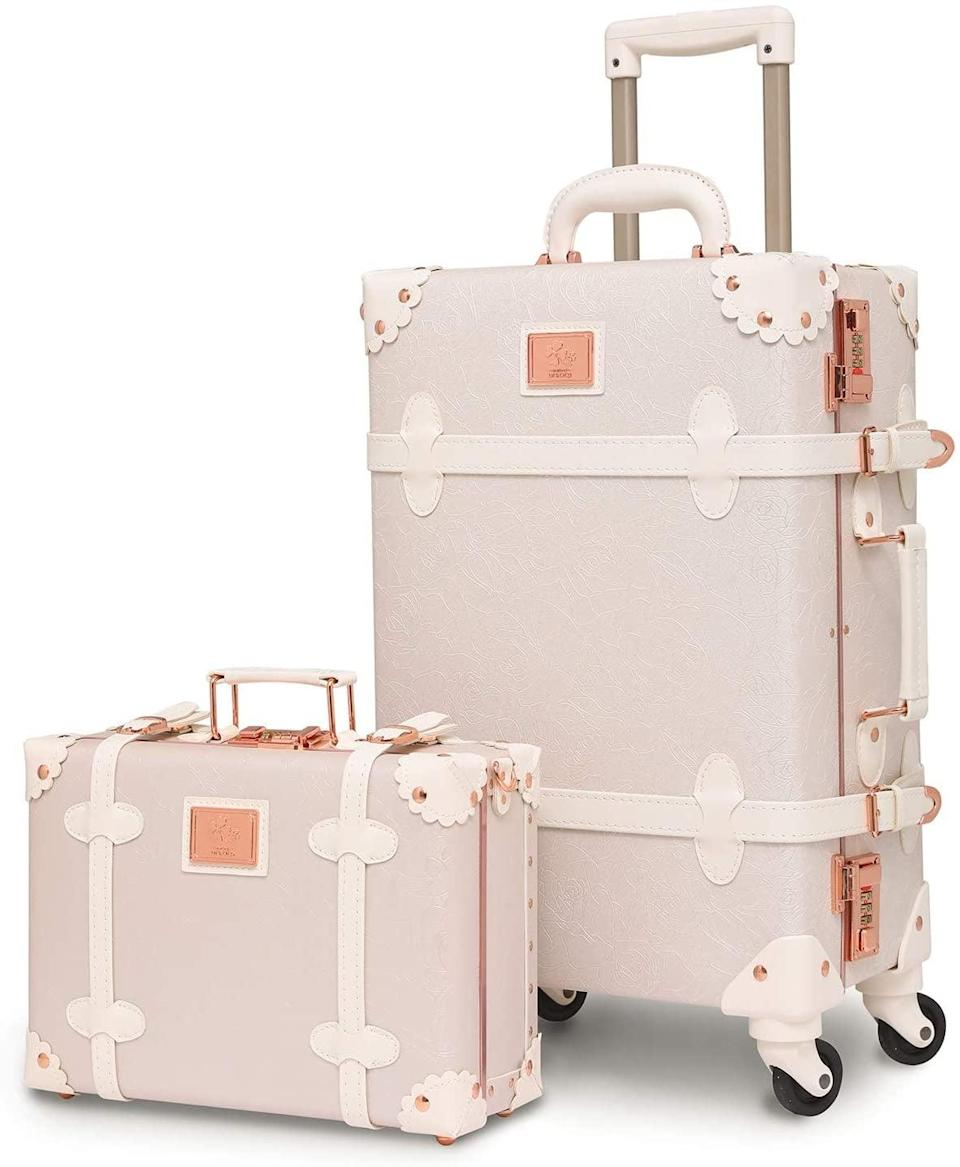 """<h2>Urecity Luxury Vintage Trunk Luggage Set</h2><br><br><strong>Urecity</strong> Luxury Vintage Trunk Luggage Set, $, available at <a href=""""https://www.amazon.com/Vintage-Luggage-Trolley-Suitcases-Lightweight/dp/B07DS69TQY"""" rel=""""nofollow noopener"""" target=""""_blank"""" data-ylk=""""slk:Amazon"""" class=""""link rapid-noclick-resp"""">Amazon</a>"""
