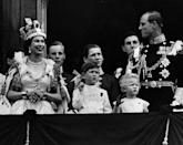 <p>On the balcony of Buckingham Palace after the Queen's Coronation ceremony.</p>
