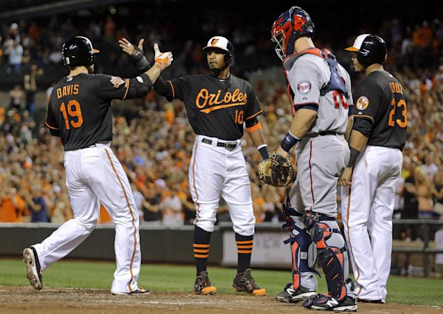 Baltimore Orioles' Chris Davis (19) high-fives teammates Adam Jones, center, and Nelson Cruz after hitting a grand slam in front of Minnesota Twins catcher Eric Fryer in the fourth inning of a baseball game, Friday, Aug. 29, 2014, in Baltimore. (AP Photo/Patrick Semansky)