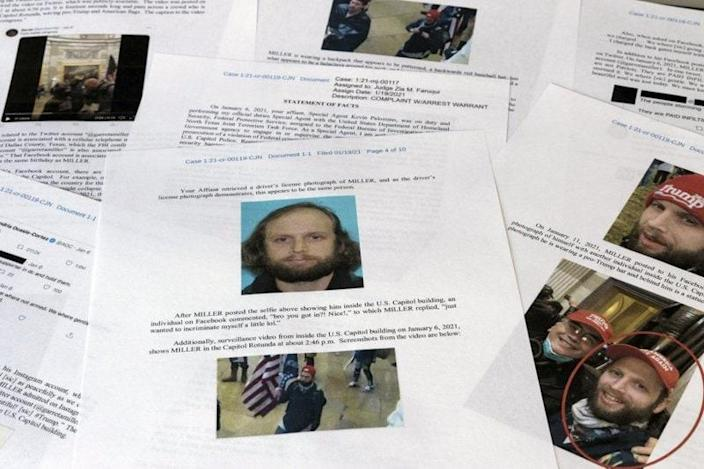 A statement of facts document presented to the United States District Court in the case against Garret Miller is photographed on Monday, March 29, 2021. (AP Photo/Jon Elswick)