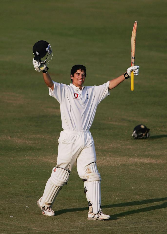 NAGPUR, INDIA - MARCH 04:  Alastair Cook of England celebrates his maiden test century in his first test match during the day four of the First Testbetween India and England at the VCA Stadium on March 4, 2006 in Nagpur, India.  (Photo by Ben Radford/Getty Images)