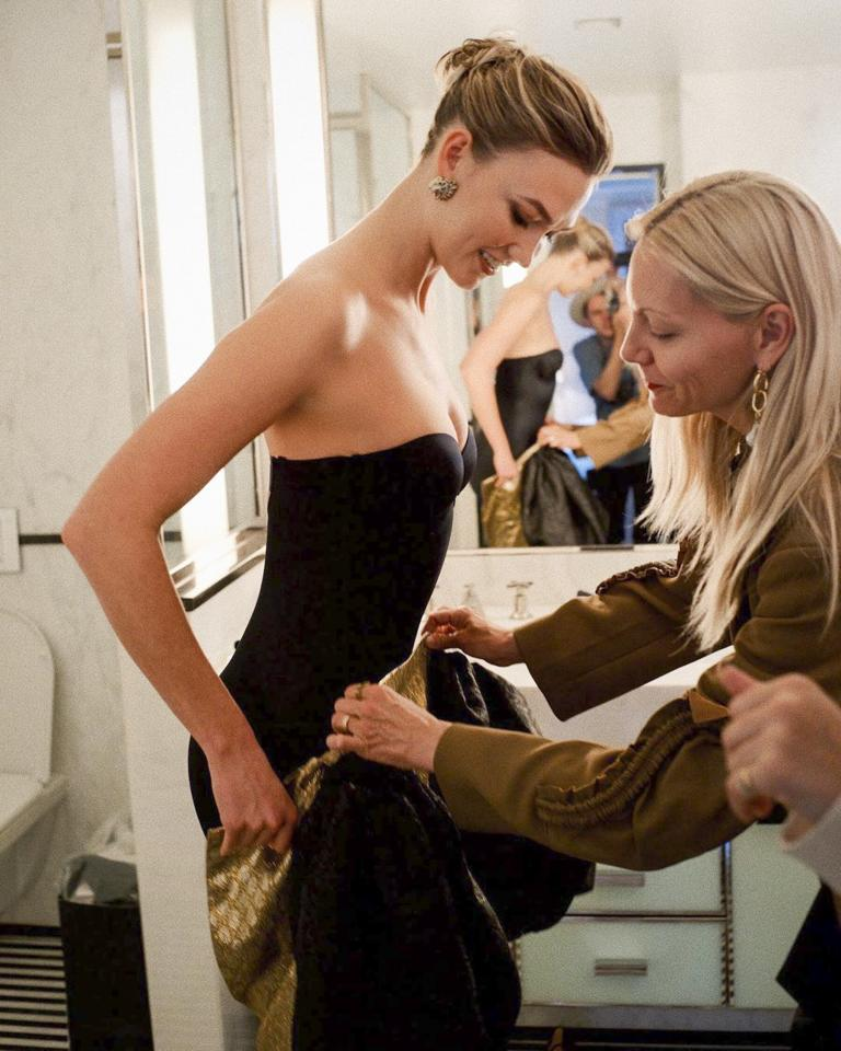 """Even supermodels sing the praises of the smoothing undergarment: """"Full body spanx appreciation post,"""" Kloss captioned this pre-Met Gala shot of her shimmying her Gucci dress over <a href=""""https://shareasale.com/r.cfm?b=909724&u=1772040&m=67657&urllink=https%3A%2F%2Fwww.spanx.com%2Fshapewear%2Fsuit-your-fancy-strapless-cupped-mid-thigh-bodysuit&afftrack=PEO%2CStarsWhoLoveTheirSpanx-andAren%27tAfraidtoShowIt%2Caapatoff%2CUnc%2CGal%2C278703%2C201910%2CI"""" target=""""_blank"""" rel=""""nofollow"""">a Spanx bodysuit</a>."""