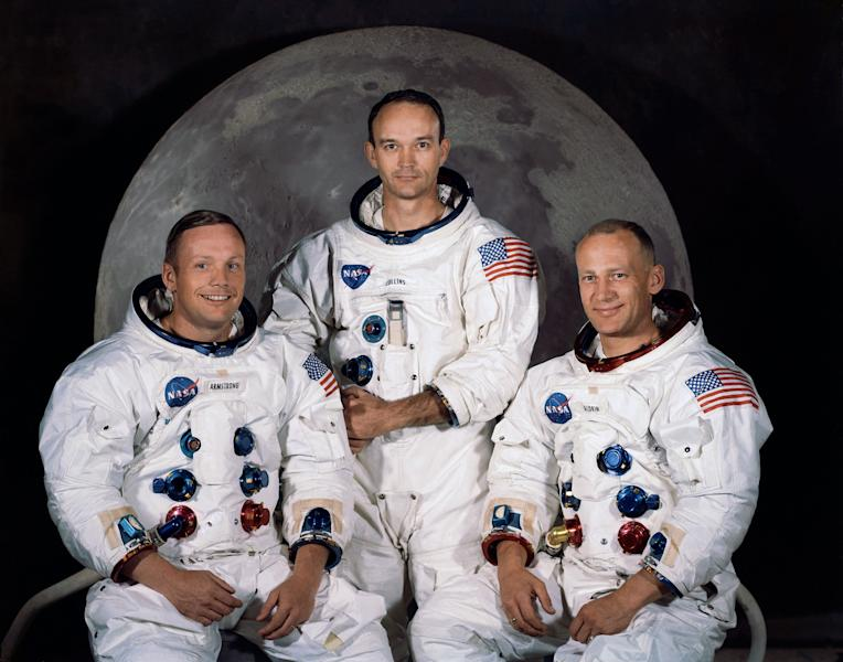 "FILE - In this 1969 photo provided by NASA the crew of the Apollo 11 mission is seen. From left are Neil Armstrong, Mission Commander, Michael Collins, Lt. Col. USAF, and Edwin Eugene Aldrin, also known as Buzz Aldrin, USAF Lunar Module pilot. The family of Neil Armstrong, the first man to walk on the moon, says he died Saturday, Aug. 25, 2012, at age 82. A statement from the family says he died following complications resulting from cardiovascular procedures. It doesn't say where he died. Armstrong commanded the Apollo 11 spacecraft that landed on the moon July 20, 1969. He radioed back to Earth the historic news of ""one giant leap for mankind."" Armstrong and fellow astronaut Edwin ""Buzz"" Aldrin spent nearly three hours walking on the moon, collecting samples, conducting experiments and taking photographs. In all, 12 Americans walked on the moon from 1969 to 1972. (AP Photo/NASA, File)"