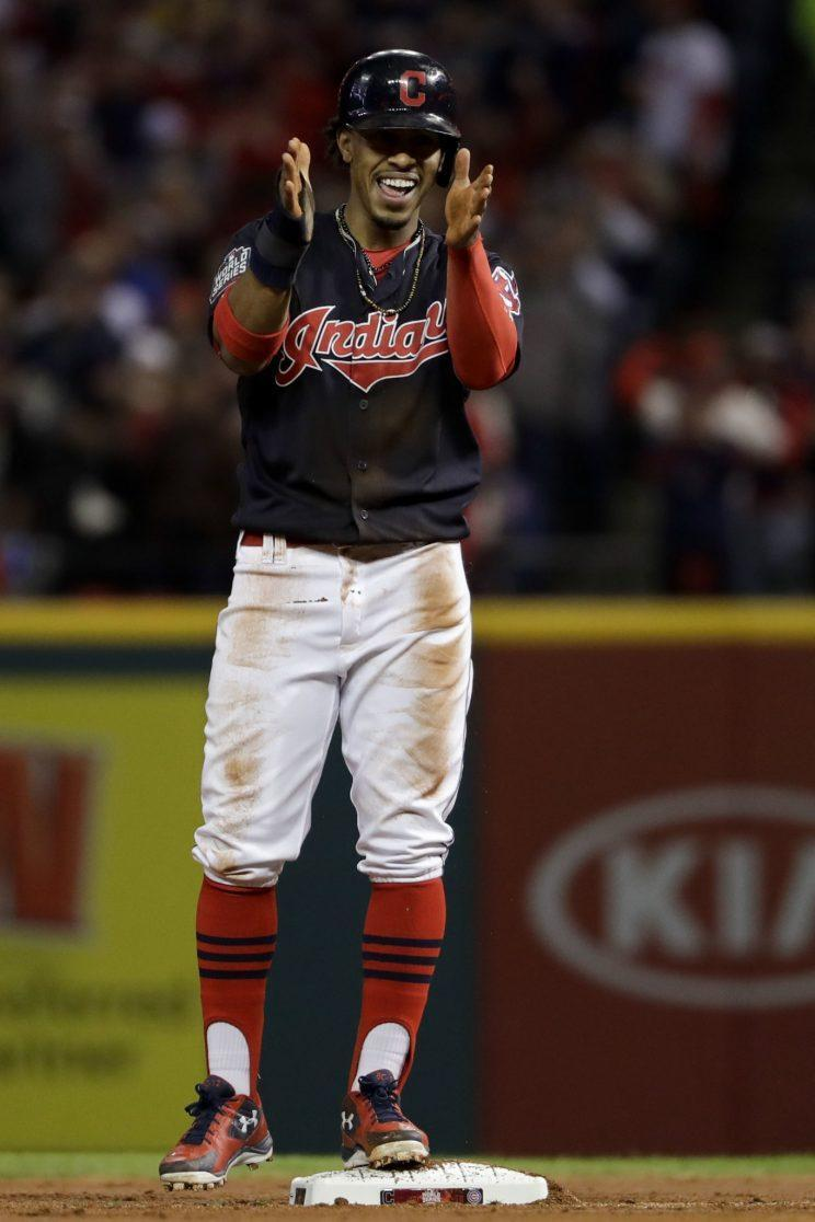 Francisco Lindor ignited the Indians' offense with an early stolen base. (AP Photo/Matt Slocum)