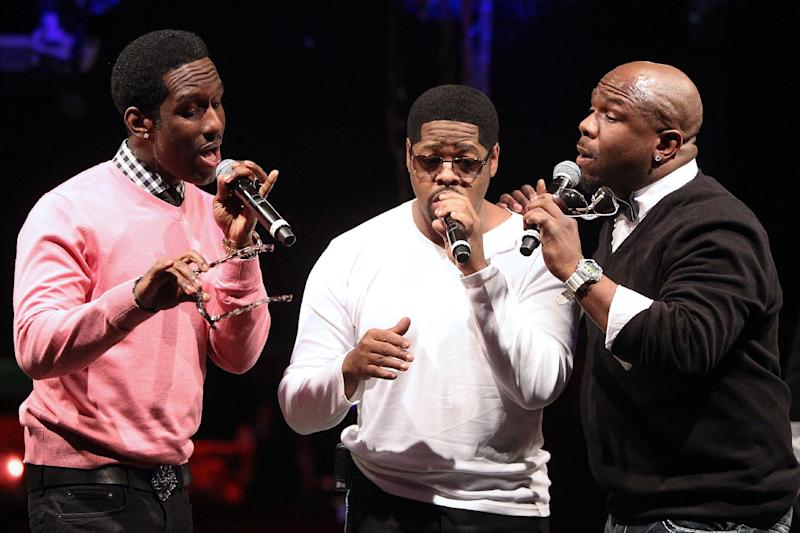 """In this picture provided by Starpix, from left, Shawn Stockman, Nathan Morris, Wanya Morris of Boyz II Men perform during the announcement of """"The Package Tour"""", Tuesday, Jan. 22, 2013 in New York. The major summer tour will feature New Kids on the Block, 98 Degrees and Boyz II Men. (AP Photo/Starpix, Kristina Bumphrey)"""