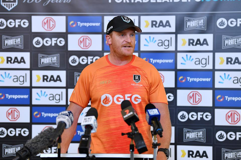 Michael Voss (pictured) assistant coach of Port Adelaide speaks to the media.