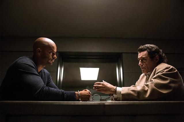 <p>Ricky Whittle as Shadow Moon, Ian McShane as Mr Wednesday in Starz's <i>American Gods</i>.<br><br>(Photo: Starz) </p>