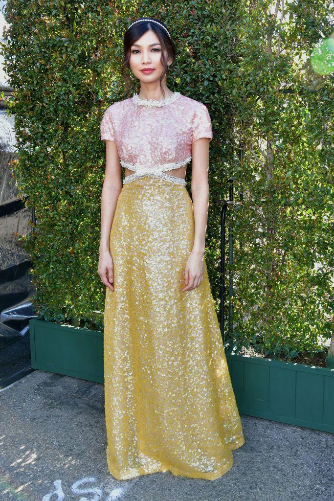 <p>Chan attended the event in Santa Monica wearing a beautiful two-tone, cut-out, sequinned gown by Miu Miu.</p>
