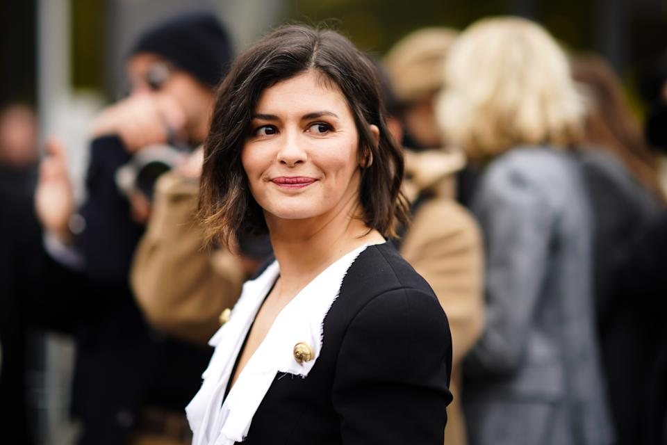 PARIS, FRANCE - FEBRUARY 28: Actress Audrey Tautou wears a black jacket with white lapels, outside Balmain, during Paris Fashion Week - Womenswear Fall/Winter 2020/2021, on February 28, 2020 in Paris, France. (Photo by Edward Berthelot/Getty Images)