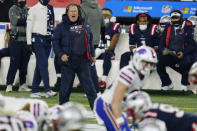 New England Patriots head coach Bill Belichick shouts from the sideline in the first half of an NFL football game against the Buffalo Bills, Monday, Dec. 28, 2020, in Foxborough, Mass. (AP Photo/Charles Krupa)