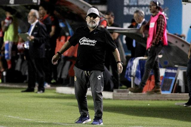 Argentine icon Diego Maradona has already undergone surgery on his left shoulder back in 2017, when he was coaching in Dubai (AFP Photo/Ulises Ruiz)