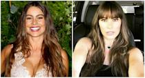"""<p>When: July 8, 2017<br>Sofia Vergara recently switched up her long, flowing brunette bombshell locks and has once again proven she can make any style look good. The star, who turned 45 on July 10, is now rocking bangs.<br>""""New haircut, gracias!!#kellyklain,"""" the """"Modern Family"""" star captioned alongside a selfie of her stunning new 'do on Instagram. The layered brunette tresses complement Vergara's natural glow and elongate her chiseled features, while the eyebrow-grazing fringe showcases the actress's large doe eyes. (Photos via Getty/Instagram) </p>"""