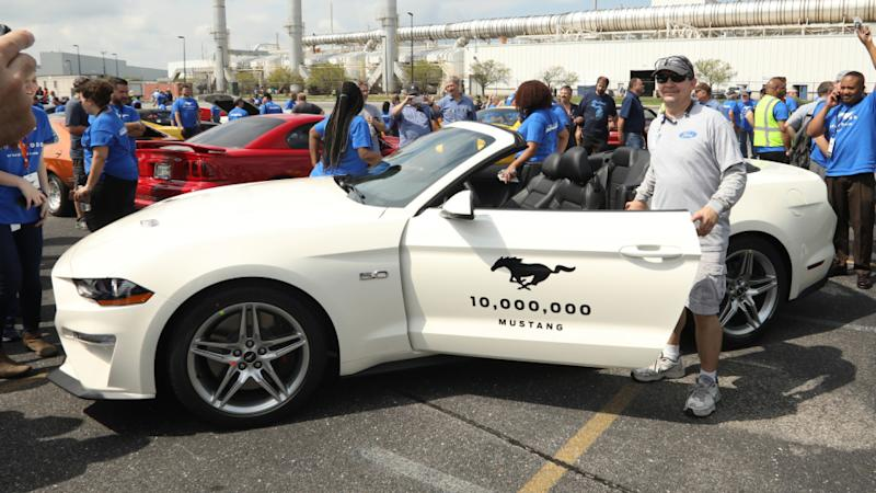 Ford employees celebrate the 10 millionth Ford Mustang