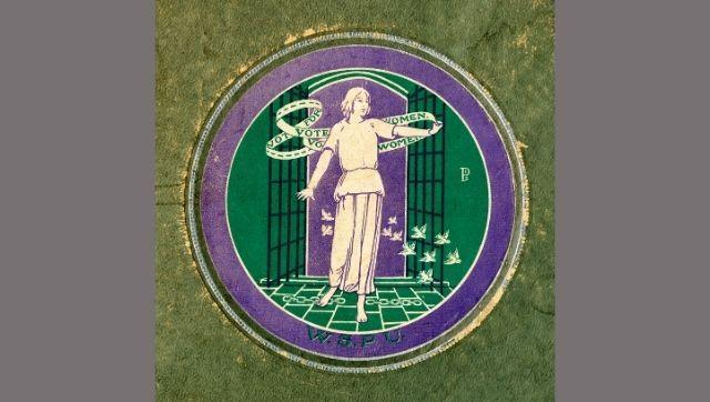 An original Women's Social and Political Union postcard album, with the circular purple, white and green WSPU motif printed on the front. Photo courtesy: Library of the London School of Economics and Political Science via The Conversation