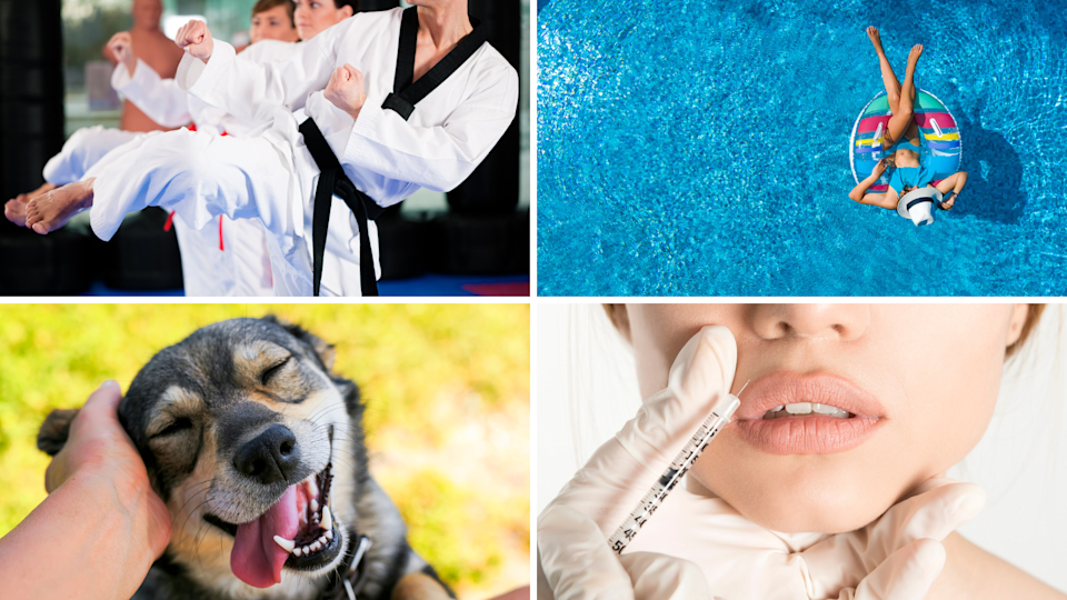 Pictured here... martial arts, dog, cosmetic surgery, woman lounging in pool. Source: Getty Images