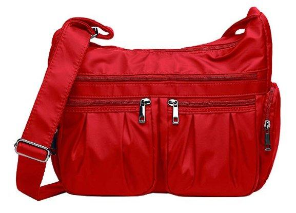 Red waterproof crossbody bag.