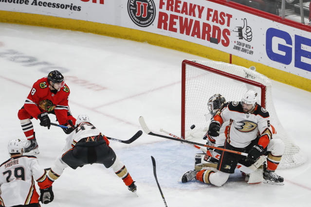Chicago Blackhawks left wing Dominik Kubalik (8) scores against the Anaheim Ducks during the second period of an NHL hockey game Saturday, Jan. 11, 2020, in Chicago. (AP Photo/Kamil Krzaczynski)