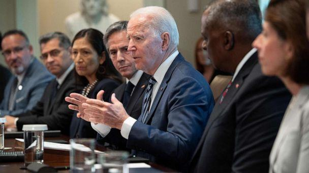 PHOTO: President Joe Biden speaks during a cabinet meeting to mark the 6 month anniversary of his administration in the Cabinet Room of the White House in Washington, DC, July 20, 2021. (Saul Loeb/AFP via Getty Images)