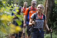 ARUSHA, TANZANIA - FEBRUARY 23:(STRICTLY EDITORIAL USE ONLY) (L-R) Ed Balls and Dani Dyer arrive in camp on day 1 of 'Kilimanjaro: The Return' for Red Nose Day on February 23, 2019 in Arusha, Tanzania, all to raise funds for Comic Relief supported projects in the UK and around the world. (Photo by Chris Jackson / Getty Images for Comic Relief)