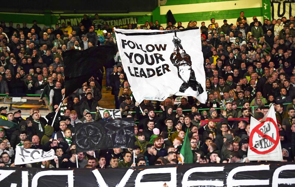 GLASGOW, SCOTLAND - OCTOBER 24: Celtic's fans display banners during the UEFA Europe League group stage match between Celtic and Lazio, at Celtic Park, on October 24, 2019, in Glasgow, Scotland. (Photo by Rob Casey / SNS Group)