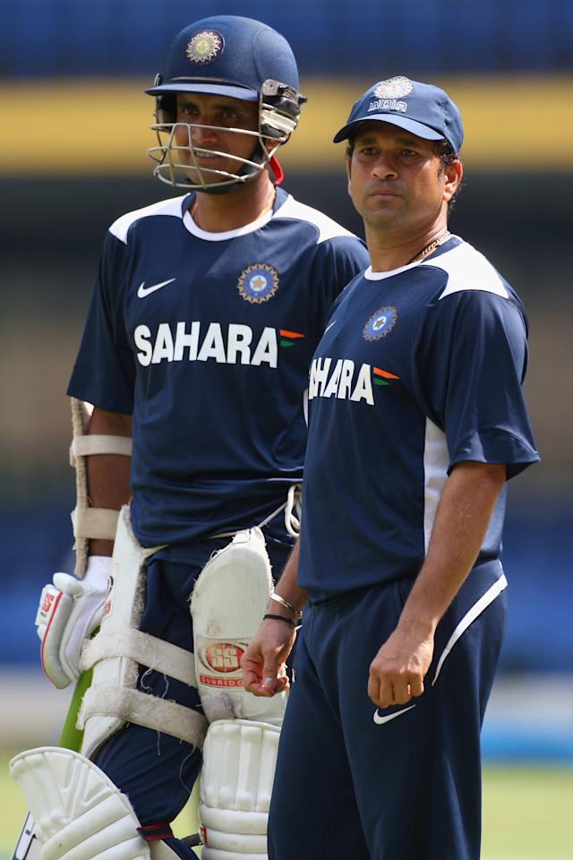 BANGALORE, INDIA - OCTOBER 07:  Sachin Tendulkar (right) with Sourav Ganguly (left) of India  during the Indian cricket team training session at the M.Chinnaswamy Stadium on October 7, 2008 in Bangalore, India  (Photo by Michael Steele/Getty Images)