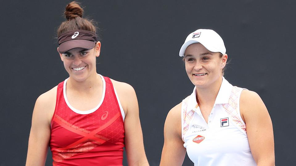 Seen here, doubles partners Jen Brady and Ash Barty.