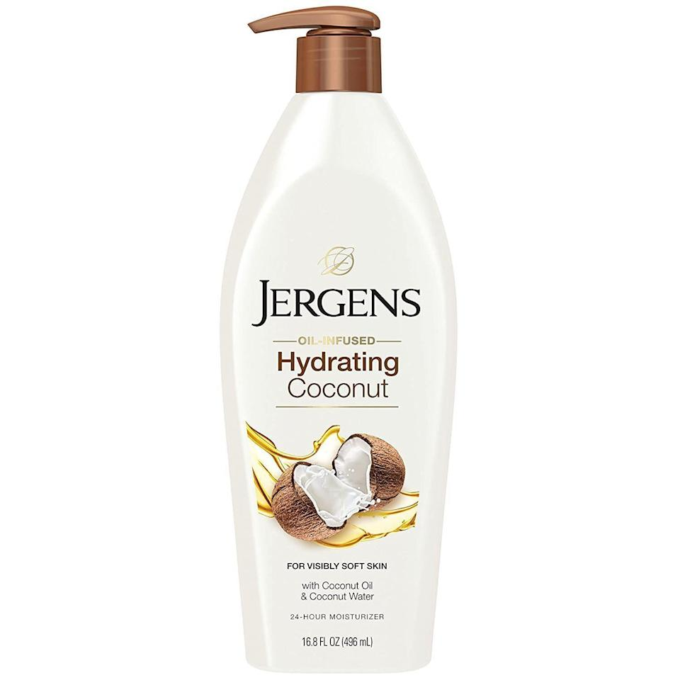 """<p><strong>Jergens</strong></p><p>ulta.com</p><p><strong>$7.99</strong></p><p><a href=""""https://go.redirectingat.com?id=74968X1596630&url=https%3A%2F%2Fwww.ulta.com%2Fhydrating-coconut-moisturizes-softens-dry-skin-moisturizer%3FproductId%3DxlsImpprod13762073&sref=https%3A%2F%2Fwww.thepioneerwoman.com%2Fbeauty%2Fskin-makeup-nails%2Fg33557607%2Fbest-moisturizer-for-dry-skin%2F"""" rel=""""nofollow noopener"""" target=""""_blank"""" data-ylk=""""slk:Shop Now"""" class=""""link rapid-noclick-resp"""">Shop Now</a></p><p>Looking to extend the hydrating love to your entire body? This best-selling oil-infused coconut water moisturizer is worth considering. It's made with glycerin, coconut water, extract, and oil, and cetearyl alcohol, a gentle ingredient known to soften skin.</p>"""