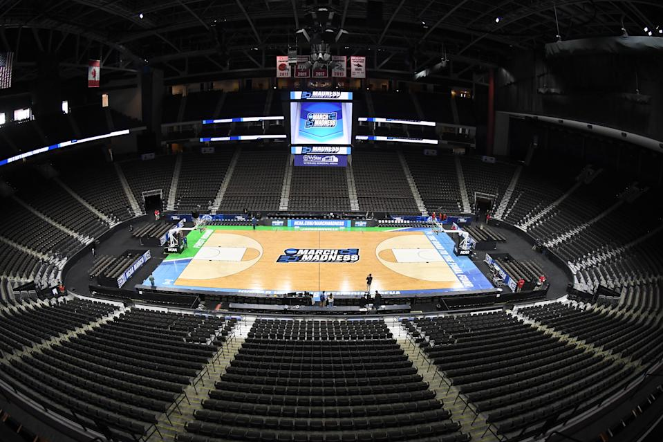 The NCAA March Madness logo on the floor during the men's basketball tournament in 2019. (Mitchell Layton/Getty Images)