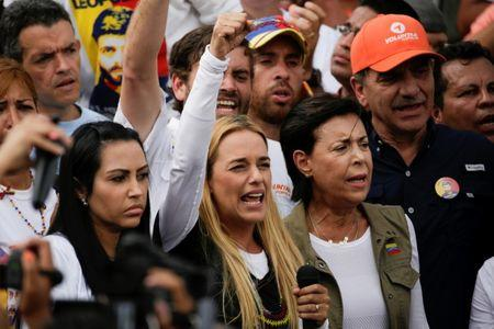 Lilian Tintori, wife of jailed Venezuelan opposition leader Leopoldo Lopez, speaks during a rally in support of political prisoners and against Venezuelan President Nicolas Maduro, in Los Teques
