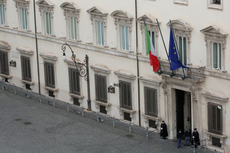 Italian Prime Minister designate Draghi moves closer to forming a government, in Rome