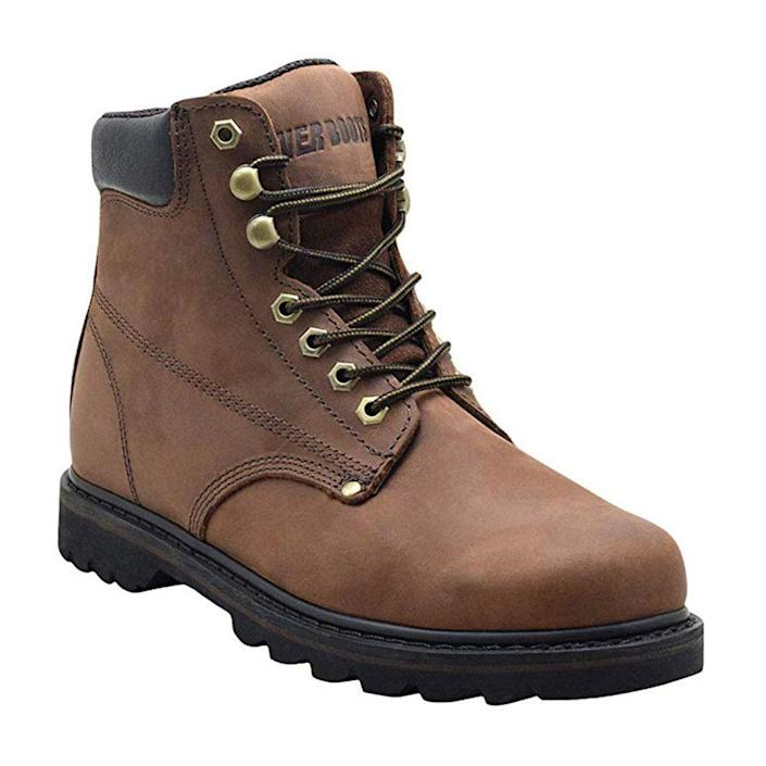"""<p><strong>EVER BOOTS</strong></p><p>amazon.com</p><p><strong>$60.99</strong></p><p><a href=""""https://www.amazon.com/dp/B01AVBLZTM?tag=syn-yahoo-20&ascsubtag=%5Bartid%7C2139.g.19540212%5Bsrc%7Cyahoo-us"""" rel=""""nofollow noopener"""" target=""""_blank"""" data-ylk=""""slk:BUY IT HERE"""" class=""""link rapid-noclick-resp"""">BUY IT HERE</a></p><p>This budget work boot is an industrial construction site go-to. Its key features include Goodyear Welt construction for the utmost durability and soft nubuck leather that's easy to break in. </p>"""