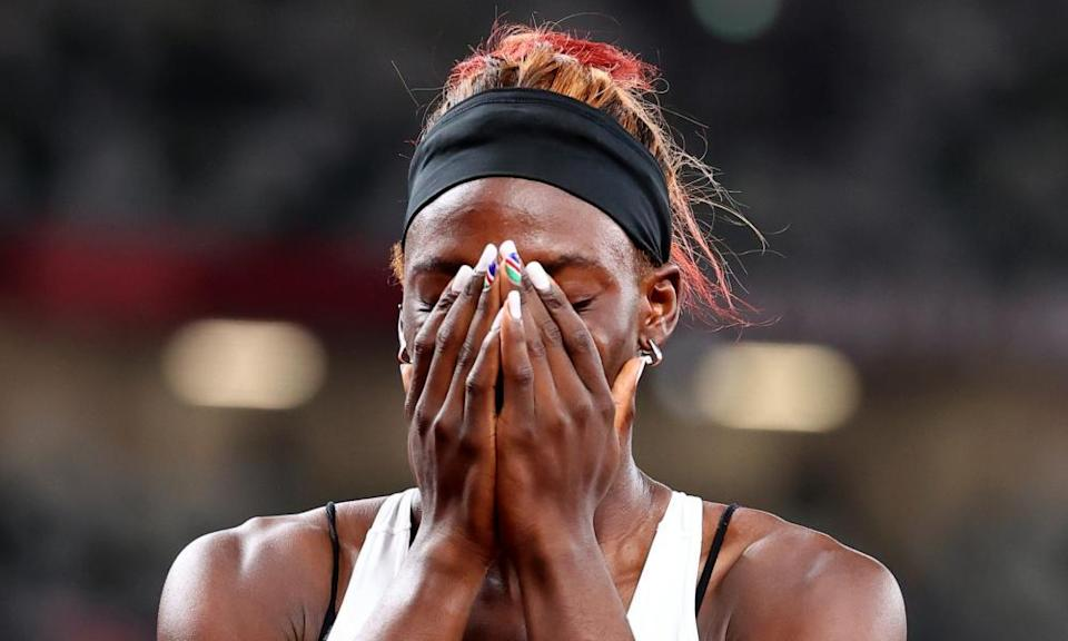 Beatrice Masilingi reacts after competing in the 200m