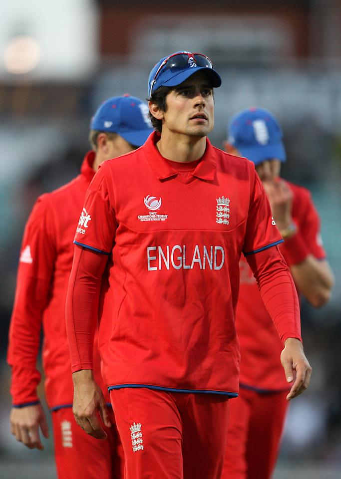 England's Alastair Cook walks off dejected after the ICC Champions Trophy match at The Kia Oval, London.